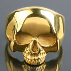 316L Stainless Steel Gold Death Skull Head Carved Punk Biker Finger Band Rings