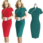 Women Zip Short Sleeve Business Office Evening Party Bodycon Sheath Pencil Dress