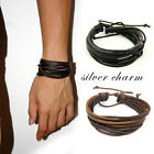 Men/Women Surfer Tribal Wrap Multilayer Genuine Leather Cuff Bracelet 2 Color