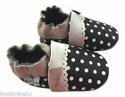 Baby Girl's Toddler Black/Cream Polka Dot Rose et Chocolat Leather Pram Shoe