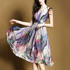 Summer European Elegant Womens High-End Retro Chiffon Short Sleeve Floral Dress