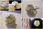 Peach & White Floral Ring *OPTION* Gold & Clear Crystal Flower Ring Size 6-8