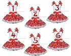 Xmas Birthday 1ST 2ND 3RD 4TH 5TH Paint Top Girl Red Snowflake Skirt Outfit 1-8Y