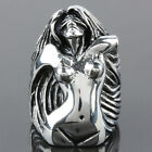 Men's Heavy 316L Stainless Steel Band Silver Biker Naked Woman Angel Finger Ring