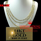 "14K REAL SOLID HEAVY YELLOW ITALIAN GOLD FIGARO LINK CHAIN NECKLACE 2MM 16""-24"""