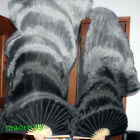 Black/Silver gray 100% silk veil belly dance fan 2pcs left+right 5ft/6ft long