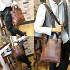 Men's Vintage Leather Handbag Briefcase Laptop Shoulder Bag Messenger Bag Tote