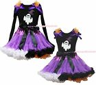 Ghost Witch Hat Black Top Halloween Purple Rainbow Pettiskirt Girls Outfit 1-8Y