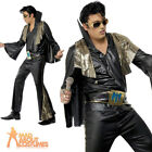 Adult Elvis Presley Costume Black and Gold 50s Fancy Dress Costume Mens Outfit