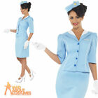 Adult Ladies Blue Air Hostess Cabin Crew Stewardess Fancy Dress Costume New