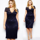 Catchy Plus Size Women Floral Lace Bodycon Midi Dress V-Neck Pencil Dresses FOUK