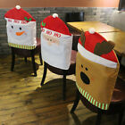 Christmas Decorations Happy Santa Red Hat Chair Back Covers Dinner Decor