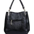Women OL Lady Croco PU Enamel Leather Handbag Shoulder Bag Large Tote Satchel