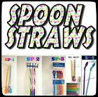 SPOON STRAWS!! Reusable, Multi-Colored, 4 Styles To Pick From!!
