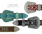 "Rhinestone Western Cowgirl Bling Studded Design Leather Belt 1-1/2"" (38mm) wide"