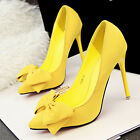 New Womens High Heels Pointed Toe OL Shoes Bowknot Stilettos Shallow Party Pumps