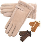 Ladies / Womens Genuine Sheepskin Glove with Buckle Feature and Wool out Trim
