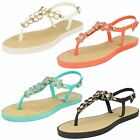 Savannah Ladies Open Toe Sandals With Upper Detailing