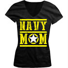 Navy Mom Mother Star Armed Forces Military Patriotic USA Juniors V-neck T-shirt