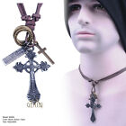 Punk Rock Cross New Men Black Brown Leather Necklace Pendant GMUS004A2