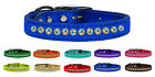 One Row AB Jeweled Metallic Leather Dog Collars - 1 Row Aurora Borealis Crystals