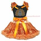 Thanksgiving Black Top Turkey Orange Bling Sequins Girl Skirt Outfit Set 1-8Year