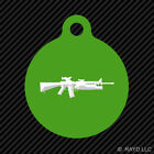 M16 with M203 Keychain Round with Tab dog engraved many colors M4 M-16 M-4