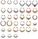 Nose Ring Septum Hanger Fake Clip On Clicker Gem Piercing Non Piercing Gold