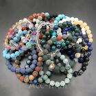 "Handmade Natural Gemstone Round Beads Stretchy Bracelet 7.5"" 4mm 6mm 8mm 10mm"