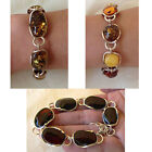BALTIC CHERRY or MULTICOLOR AMBER & STERLING SILVER HANDMADE LINK CHAIN BRACELET