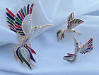VINTAGE RHINESTONE ENAMEL HUMMING BIRD BROOCH AND EARRINGS SET