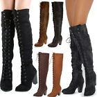 Distress & Suede Lace Up Over the Knee Chunky High Heel Thigh High Women Boots