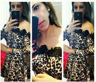 Fashion Sexy Women Lace Mesh Leopard Printed Party Cocktial Evening Mini Dress