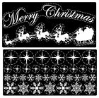 Reusable Santa Sleigh Merry Christmas Snowflake Cling Window Decoration Stickers