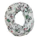 New David & Young Womens Christmas Holiday Penguin Infinity Loop Scarf
