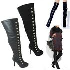 LADIES WOMENS OVER THE KNEE BUTTON THIGH HIGH PLATFORM STILETTO HEEL BOOTS SIZE