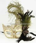 Feather Venetian Mysterious Halloween beige accent Lace Masquerade Ball Eye Mask