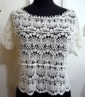 New Crochet Mini Midriff Pullover / Blouse Free Size S / M White or Beige F792