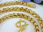 "AWESOME DIAMOND-CUT BOX LINK BAHT CHAIN 20"" 24.5"" 22K 24K Gold GP Thai Necklace"