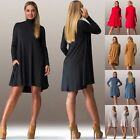 Fashion Women Ladies Solid Color Long Sleeve Turtle Neck Casual Loose Dress Tops