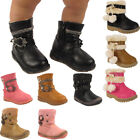 New Kids Pom Pom Faux Fur Lined Quilted Girls Winter Mid Calf Boots Shoes Sizes