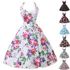 Plus Size Womens Vintage Retro 50s Swing Party Pinup Halter Evening Prom Dress