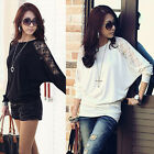 Size 8-24 Sexy Womens Ladies Batwing Lace Long Sleeve Loose T-Shirt Blouse Top