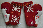 HANDMADE EMBROIDERED WOOL recycled sweater MITTENS, Fleece Lined, Red White