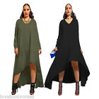 NEW Womens Party Casual Long Maxi Evening Long Sleeves Assymetrical Uneven Dress