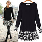 Women's Oversize Dress Fashion Pullover Shirt Charm Floral Mosaic Dresses UKFO