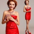 Red New Formal Wedding Prom Party Bridesmaid Evening Ball Gown Short Dress /L106