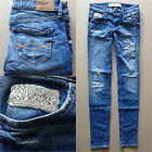 Abercrombie / Hollister A&F Women Super Skinny Jeans Denim Pant Destroyed 00 W24