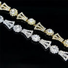 1 Yard Glass Rhinestone Silver Gold Women Bridal Dress Costume Trim Applique