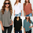 Plus Size 8-22 Ladies V Neck Chiffon Top Long Sleeve Loose Casual T Shirt Blouse